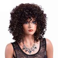 Pruik zeer donkerbruin mix lang haar met krulletjes