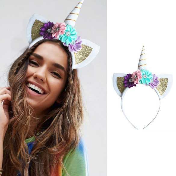 Unicorn diadeem hoorntje wit / goud met oortjes en bloemen