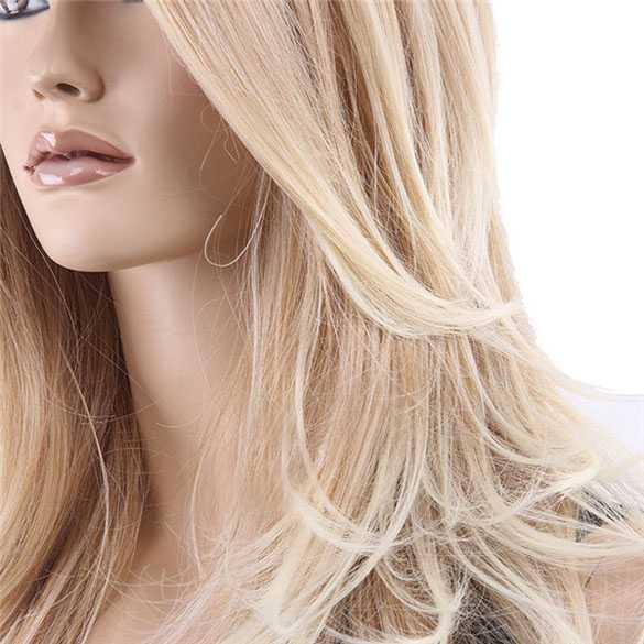 Luxe pruik blondmix zig-zag scheiding zonder pony