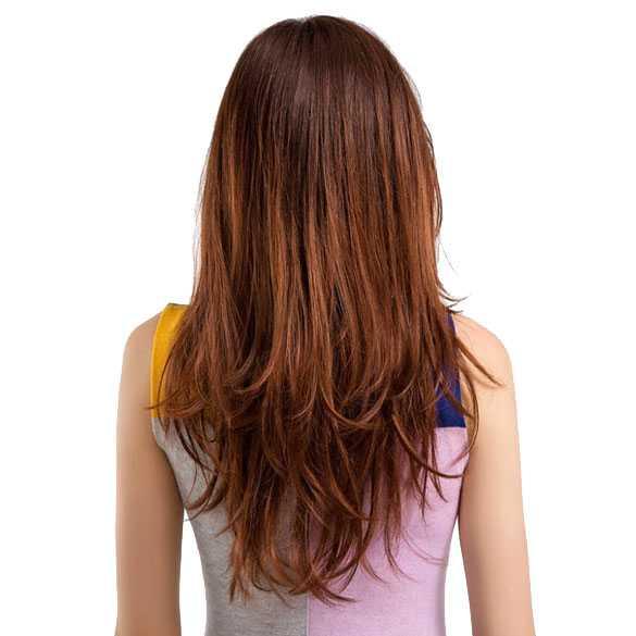 Pruik mahonie roodmix lang steil haar in laagjes model Manon