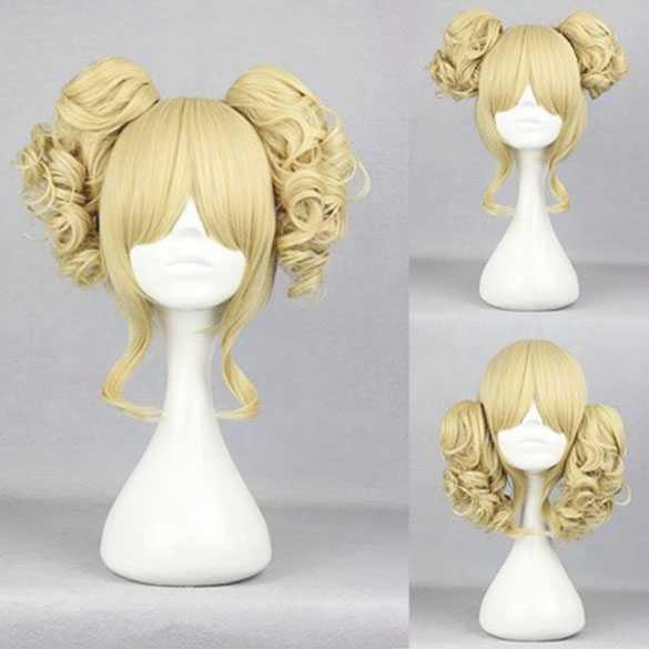 Manga pruik met 2 krulstaarten op klem Vanille Blond