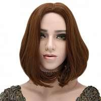 Pruik bob model bruin haar model zonder pony