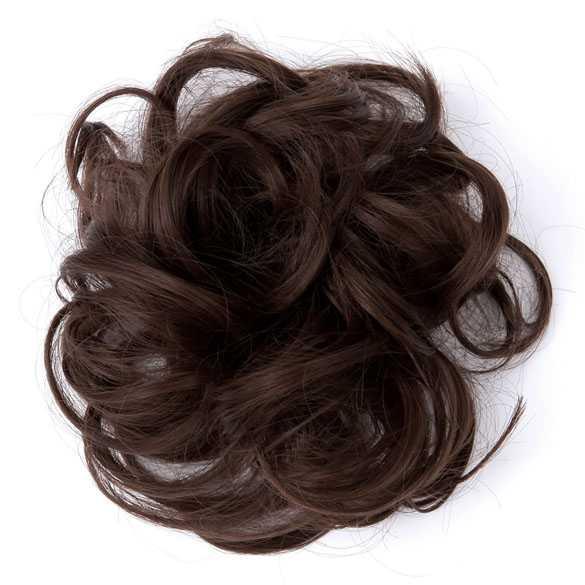 Haar scrunchie met elastiek medium bruin kleur 8
