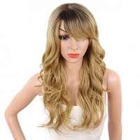 Pruik lang haar in honingblond met slagen model Nina