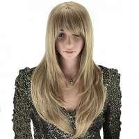 As-blonde pruik lang steil haar in lagen