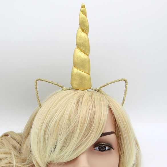 Unicorn haarband met oortjes Goud