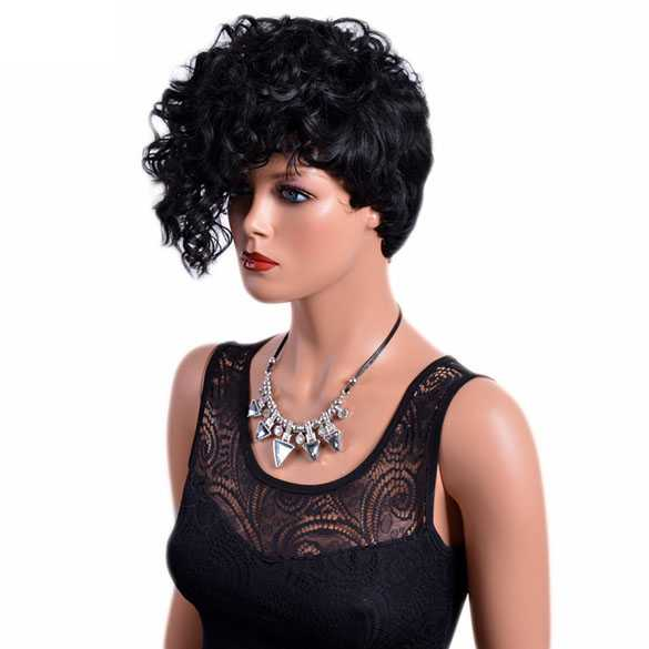 Punk Rockabilly pruik kort zwart haar