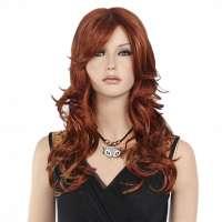 Sexy pruik lang rood haar in lagen met slagen