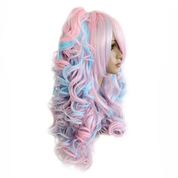 Lolita pruik roze blauw met krullen en staarten