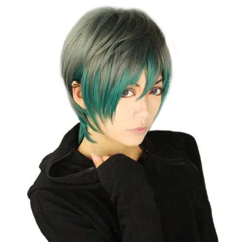 Punk Gothic Harajuku Anime pruik kort grijs groen in laagjes