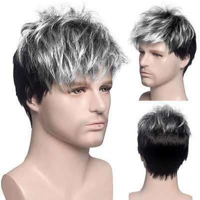 Mannenpruik met kort zwart / zilverwit haar in laagjes
