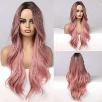 Pruik lang haar in smoke pink met grove slagen model 313