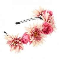 Hippie bloemen diadeem / haarband roze - vanille / framboos