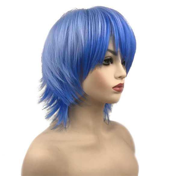 Cosplay Manga pruik twee-kleurig blauw kort haar in laagjes