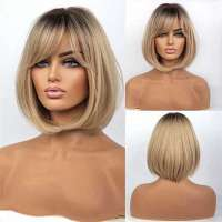 Pruik bob model blond met steil haar model 167