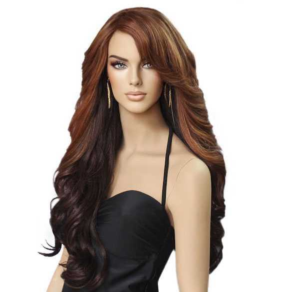 Pruik lang haar met slagen model Vienna kleur Chestnut