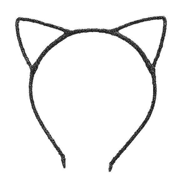 2 x Glinster haarband model katten oortjes zwart