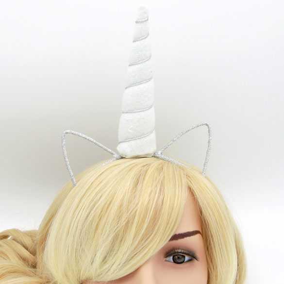 Unicorn haarband met oortjes Wit vilt met zilverdraad