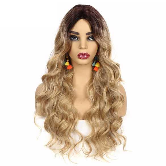 Ombre pruik goudblond lang krullend haar donkere roots model Gisela