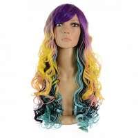 Multicolor carnaval pruik lang krullend haar model Judi