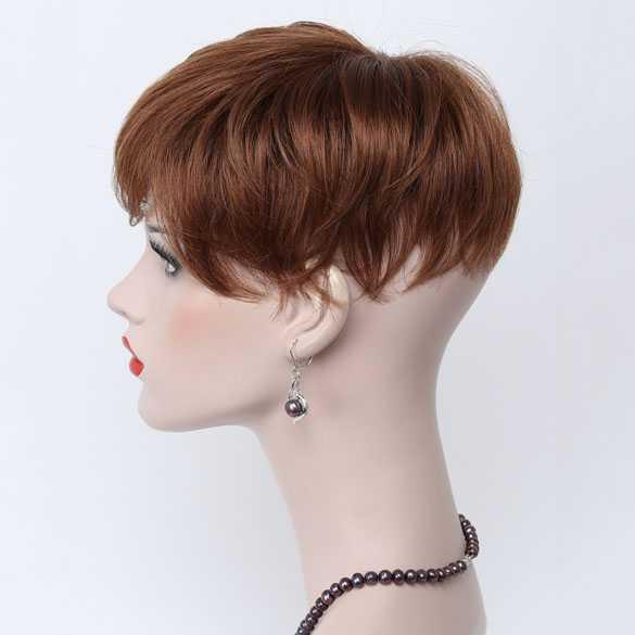 Haartopper met clips medium kastanje roodbruin kleur 30