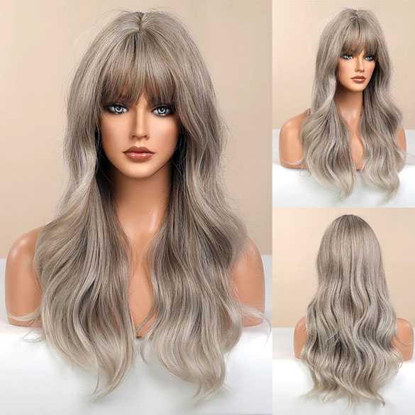 Pruik lang haar met slagen in grijsblond mix model 272