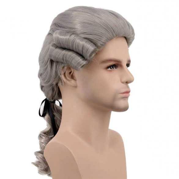 Historische Barok Mozart pruik met staartje grijs