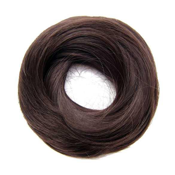 Haar scrunchie steil met elastiek medium bruin kleur 4