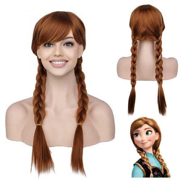 Leuke Frozen Disney pruik prinses Anna met 2 vlechten