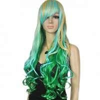 Zeemeermin pruik blond groen blauw lang haar met krullen
