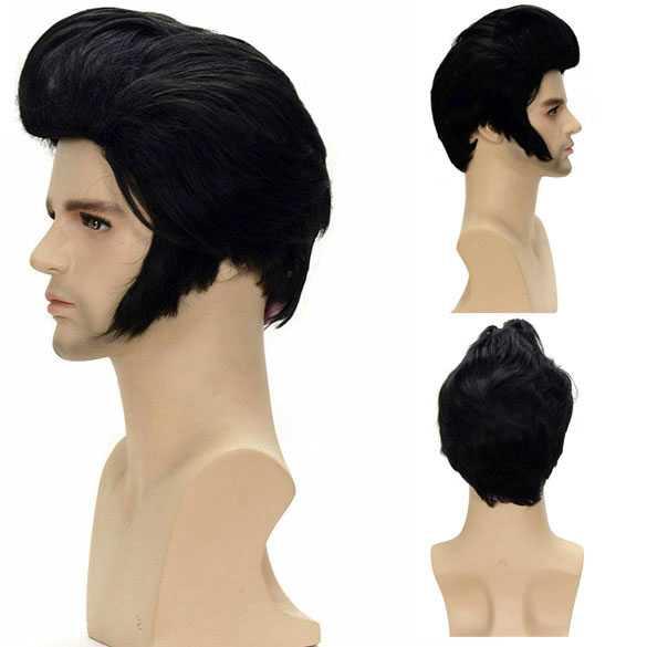 Elvis pruik met kuif en bakkebaarden