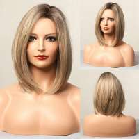 Pruik bob model in blondmix steil haar zonder pony