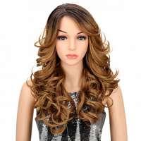 Pruik lang krullend haar met donkere roots model Larissa