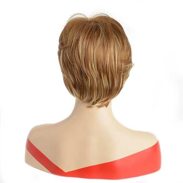 Pruik kort haar in laagjes roodblond mix