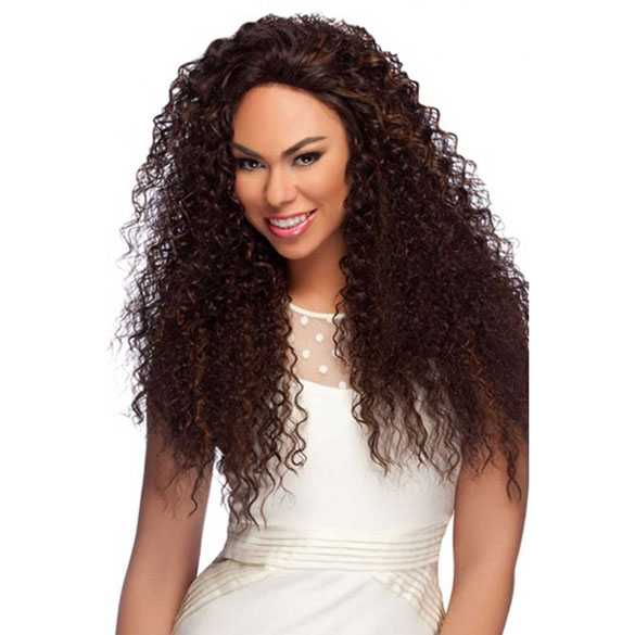 Lace front pruik lang haar met spiraalkrullen model LL007