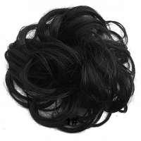 Haar scrunchie met elastiek zwart kleur 1