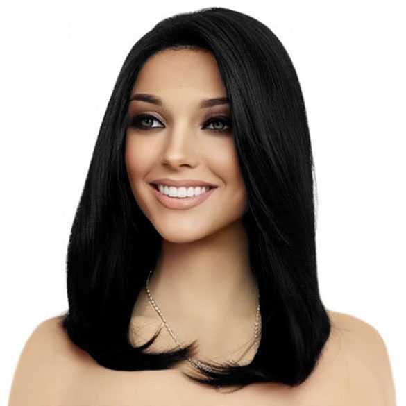 Lace pruik schouderlang steil haar model Reese kleur zwart