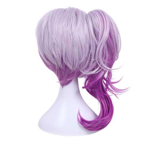 Manga pruik met staart duo-color paars lila