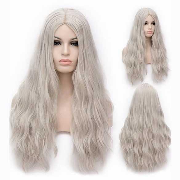 Pruik lang haar met golfjes in grijs blondmix zonder pony