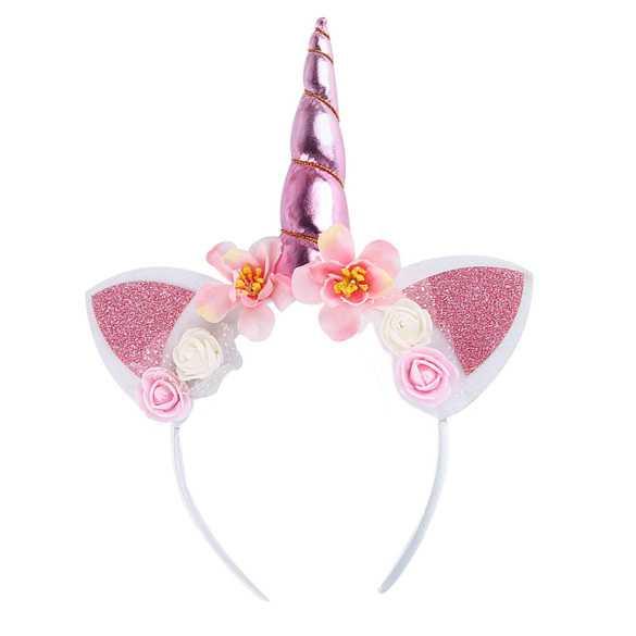 Unicorn diadeem hoorntje roze met oortjes en bloemen