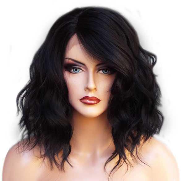 Lace front pruik nonchalant bob model Peagan kleur zwart