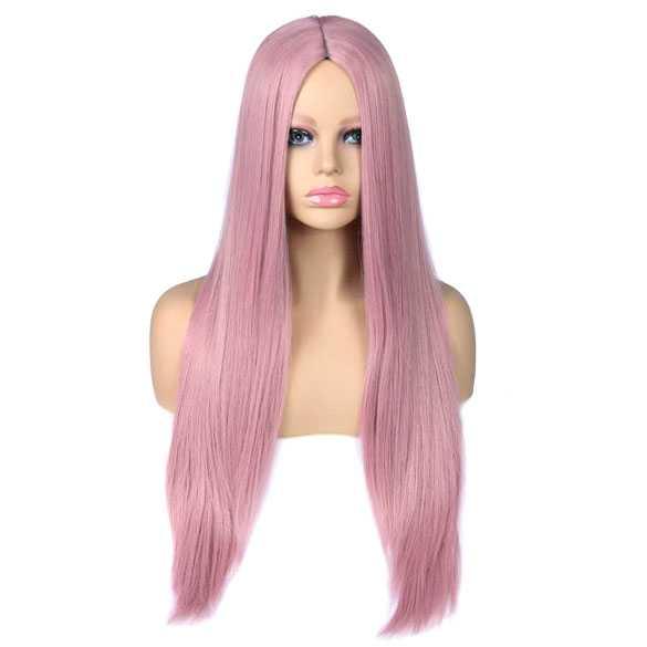 Cosplay pruik lang steil haar zonder pony kleur poeder roze