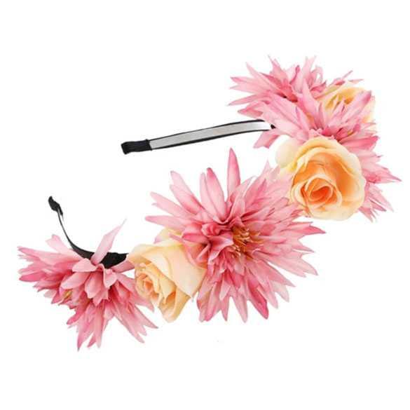 Hippie bloemen diadeem / haarband geel - roze