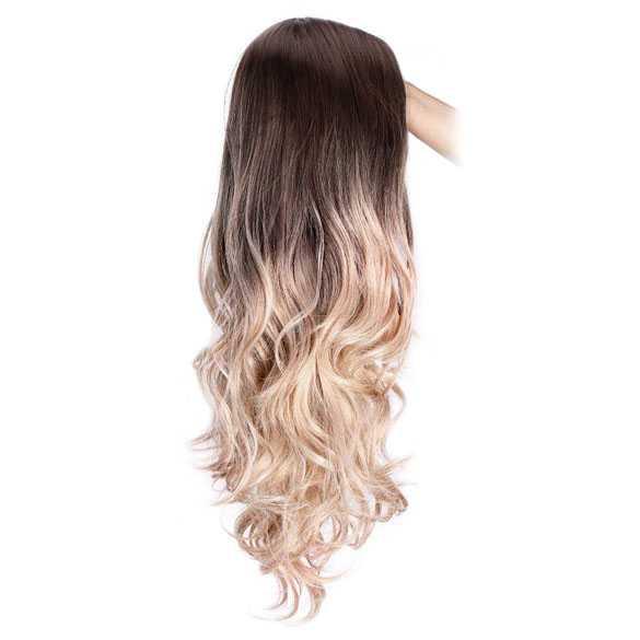 Pruik ombre roomblond lang haar met donkere top