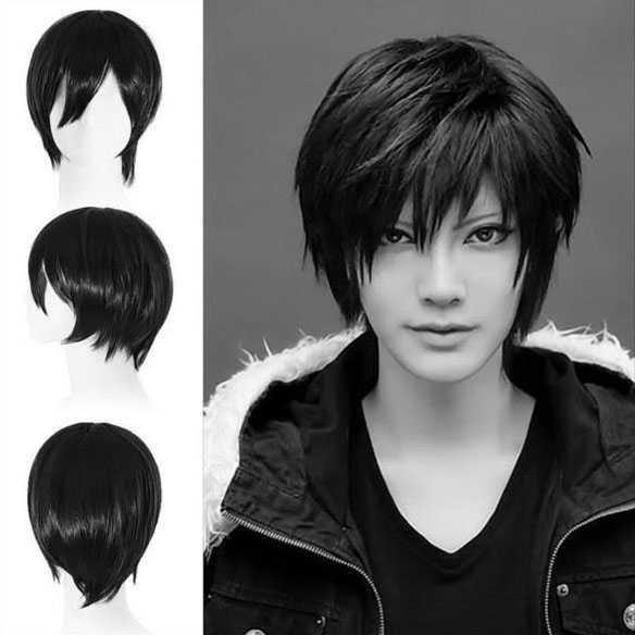 Manga pruik kort zwart haar met plukjes