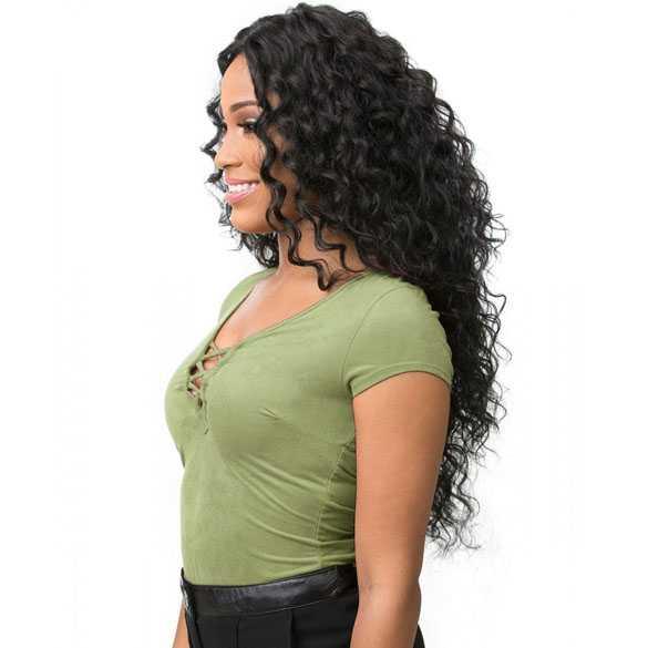 Lace pruik met prachtig lang zwart krullend haar model Boutique