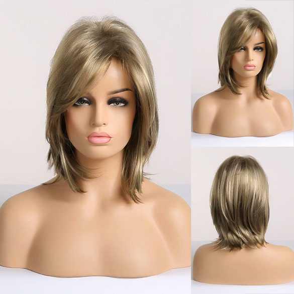 Pruik kort model steil haar in laagjes medium blondmix