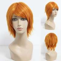 Manga pruik kort oranje haar in laagjes