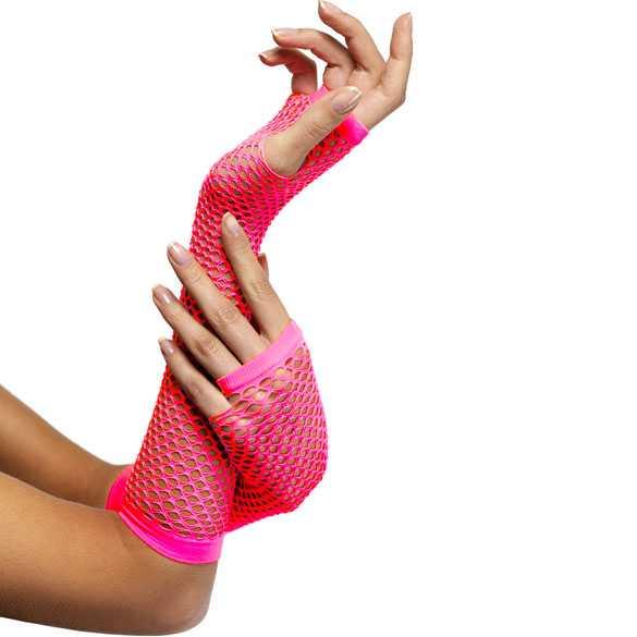 Carnaval gaas handschoenen zonder vingers neon roze