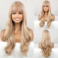 Pruik lang blond haar met slagen en pony model 270